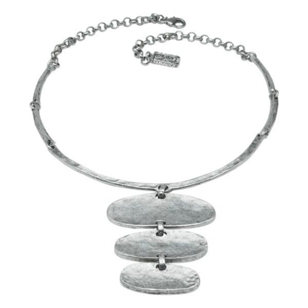 N14393.30 - Collier argenté au 925 sterling avec pendentif ovale