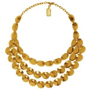 N06928.10 Collier doré à l'or fin 24 carats t avec 3 rangées de disques martelé en coquillage