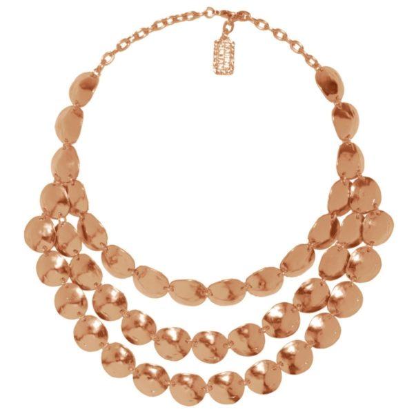 N06928.50 - Collier doré à l'or rose fin 24 carats avec 3 rangées de disques martelé en coquillage