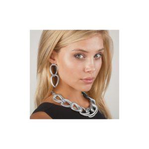 E56025.20 - Boucles d'oreilles argentées au 925 sterling avec pendentif ovales à deux textures