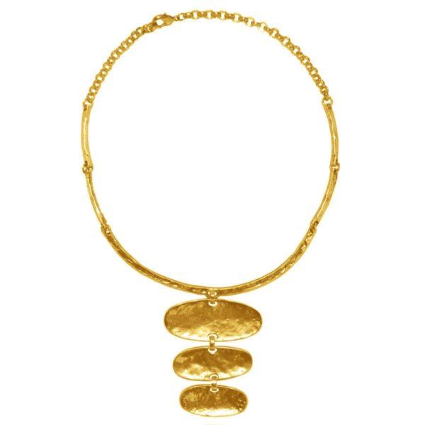 N14393.30 - Collier doré à l'or fin 24 carats oxydé avec pendentif ovale