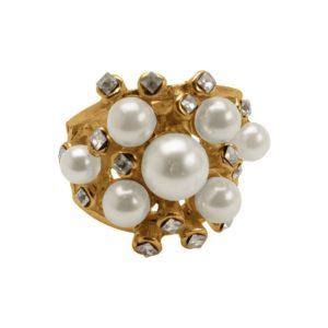 R51062.12 - Bague dorée à l'or fin 24 carats en forme de dôme avec perles