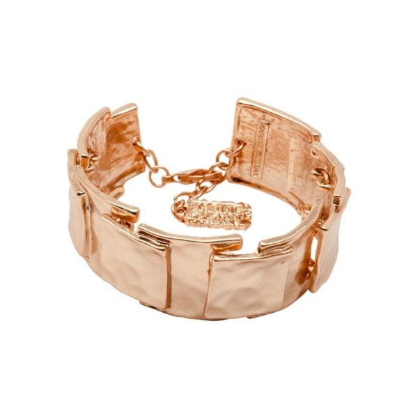B53022.50 - Bracelet doré à l'or rose fin 24 carats avec un design carré superposé
