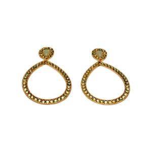E55055.16 - Boucles d'oreilles dorées à l'or fin 24 carats mat en forme de goute avec cristaux