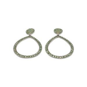 E55055.26 - Boucles d'oreilles argentées au 925 sterling en forme de goute avec cristaux