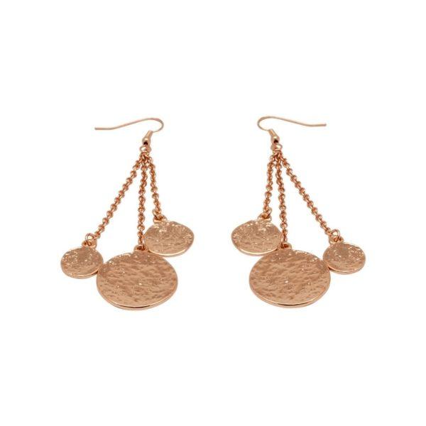 E56096.50 - Boucles d'oreilles longue dorées à l'or rose 24 carats