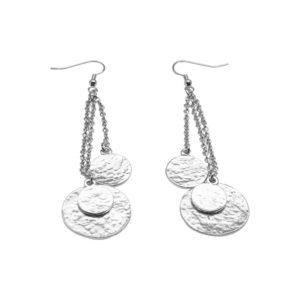 E56096.20 - Boucles d'oreilles longue argentées au 925 sterling