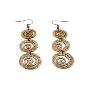 E57030.10 - Boucles d'oreilles longue dorées à l'or fin 24 carats avec email noir