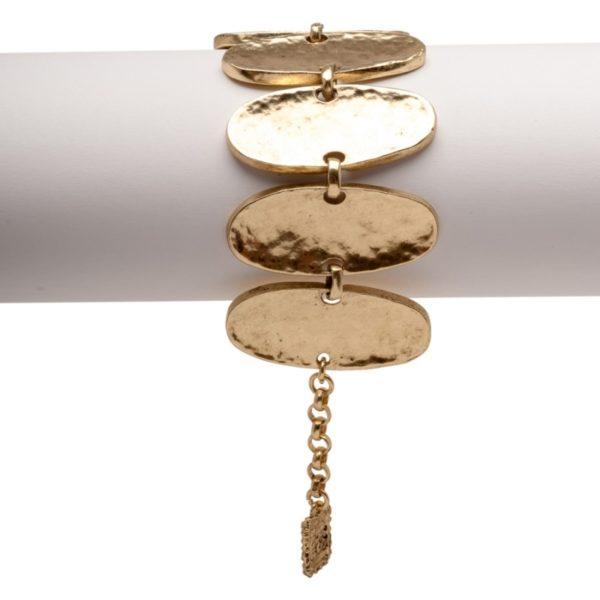 B14396.30 - Bracelet doré à l'or fin 24 carats doté de plusieurs ovales relié
