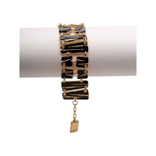 B57026.13 - Bracelet doré à l'or fin 24 carats avec de l'émail noir