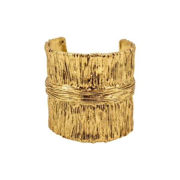 B61103.30 - Bracelet doré à l'or fin 24 carats avec un design de ligne verticale