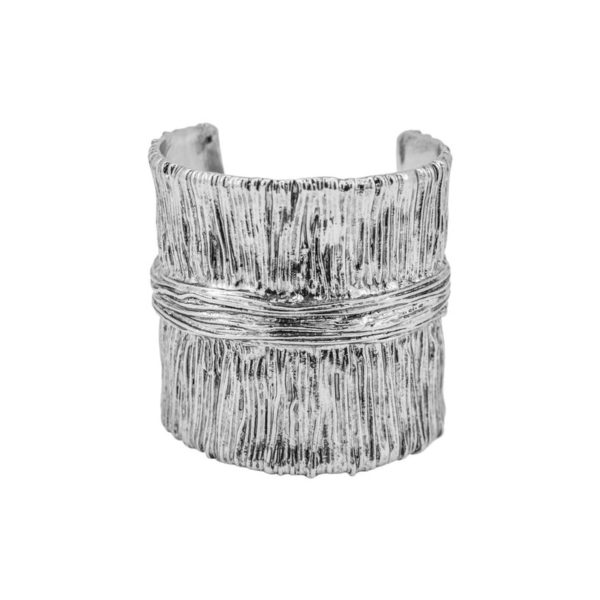 B61103.40 - Bracelet argenté au 925 Sterling oxydé avec un design de ligne verticale