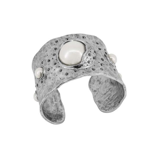 B61100.41 - Bracelet argenté au 925 Sterling avec des perles de verre blanche