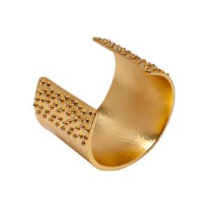 B58005.11 - Bracelet doré à l'or fin 24 carats couvert de cristaux blanc aux extrémités