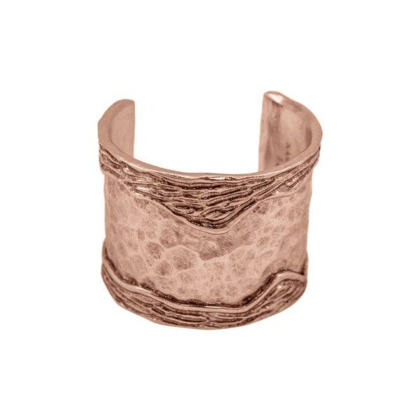 ANNE - B61102.50 - Bracelet doré à l'or rose fin 24 carats avec un design de bande ondulé sur le côtés