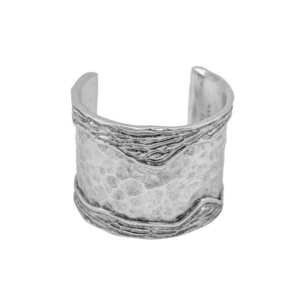 ANNE - B61102.40 - Bracelet argenté au 925 Sterling avec un design de bande ondulé sur le côtés