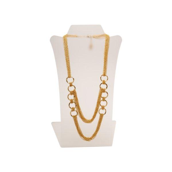 N51018.10 - Collier doré à l'or fin 24 carats avec deux rangs de multitude fines chaînettes