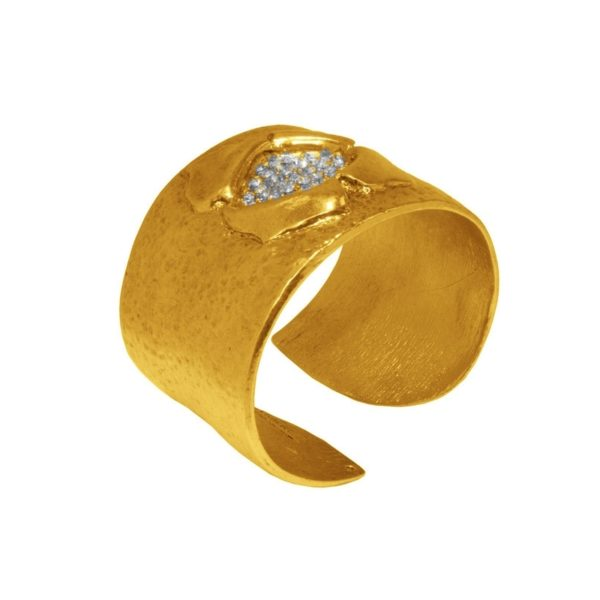 B62001.31 - Bracelet doré à l'or fin 24 carats design fleur et cristaux blanc