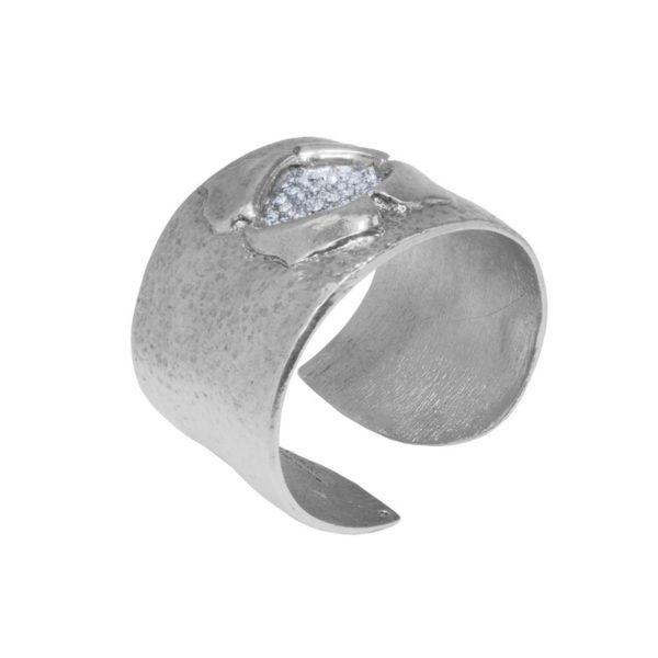 B62001.41 - Bracelet argenté au 925 Sterling design fleur et cristaux blanc