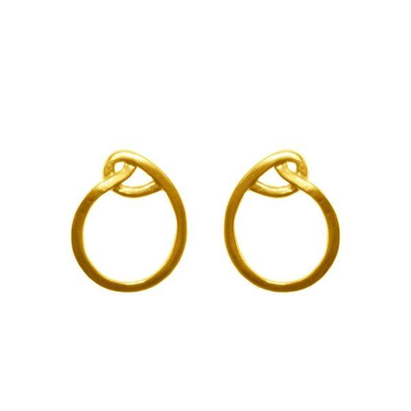 E61129.10 - Boucles d'oreille dorées à l'or fin 24 carats design nœud