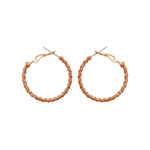 E61139.50 - Boucles d'orreille dorées à l'or fin rose 24 carats design goute d'eau
