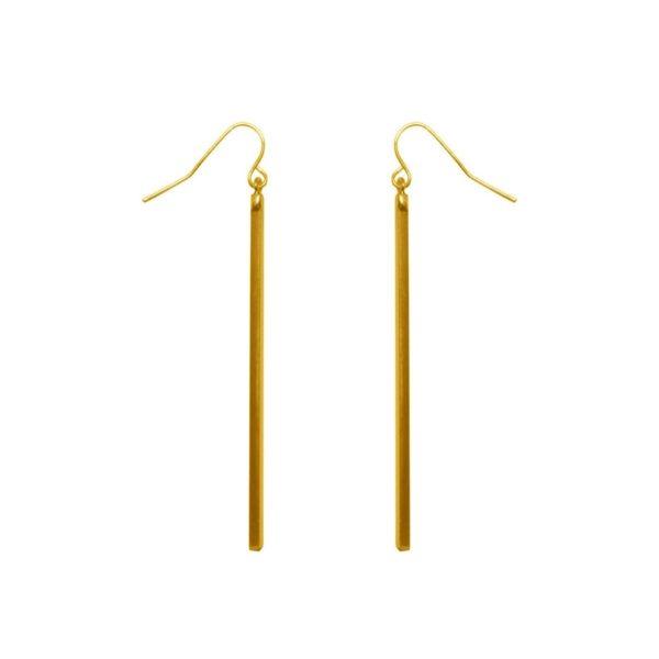 E62034.10 - Boucles d'orreilledorées à l'or fin 24 carats avec un long pendentif