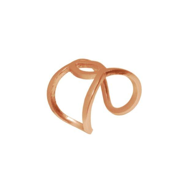 R61122.50 - Bague dorée à l'or rose fin 24 carats avec deux cercle reliés