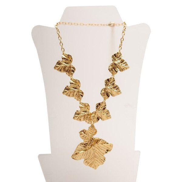N56018.10 - Collier doré à l'or fin 24 carats avec un design de feuille