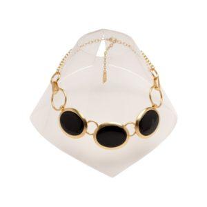 N56051.13 - Collier doré à l'or fin 24 carats avec trois grands ovales avec de l'émail noir