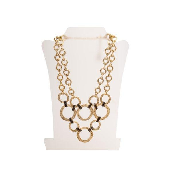 N50098.30 - Collier doré à l'or fin 24 carats avec de multiples cercles relié par une chaîne