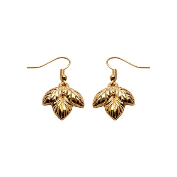 E60048.10 - Boucle d'oreille dorées à l'or fin 24 carats design 3 feuilles