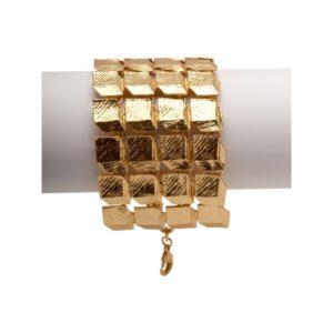 B53014.10 - Bracelet doré à l'or fin 24 carats avec cube effet 3D