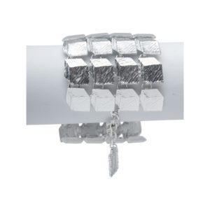 B53014.20 - Bracelet en étain argenté au 925 Sterling avec cube effet 3D