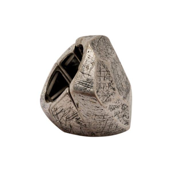R50147.40 - Bague argentée au 925 sterling en forme de diamant découpé