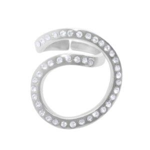 R62076.21 - Bague argentée au 925 sterling en tourbillon couvert de cristaux clairs