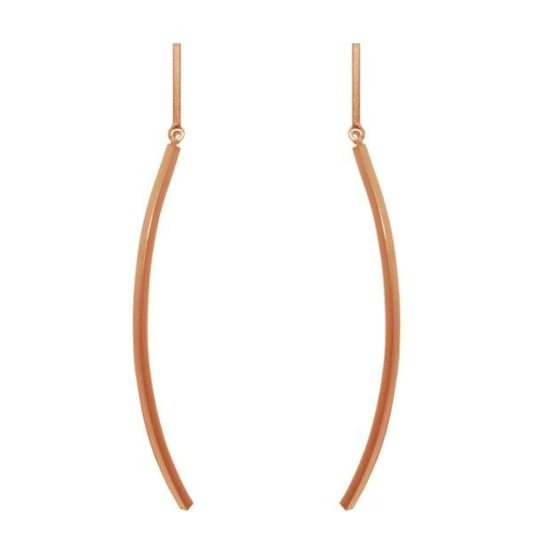 E61140.50 - Boucles d'oreille dorées à l'or fin rose 24 carats avec un pendentif arqué