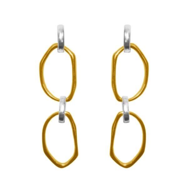 E62082.10 - Boucles d'oreille dorées à l'or fin 24 carats avec deux anneaux en pendentif