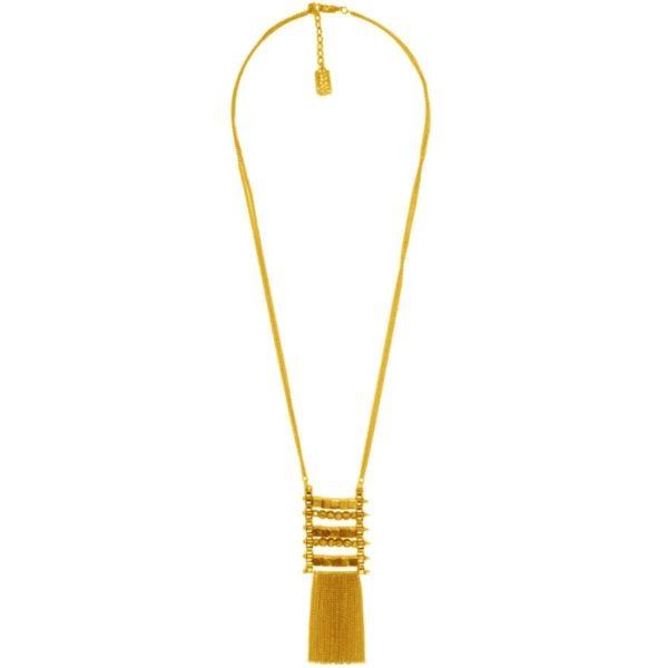 N61134.10 - Collier doré à l'or fin 24 carats à double chaîne et pendentif