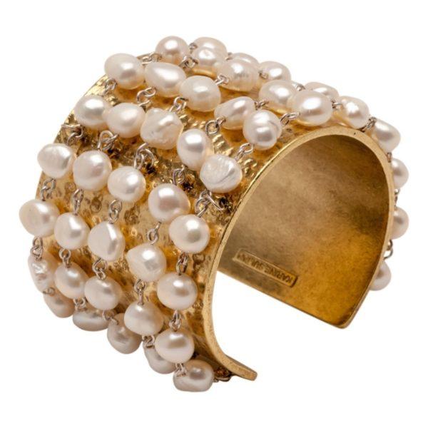 B59025.32 - Bracelet doré à l'or fin 24 carats avec cinq rangés de perles de verre