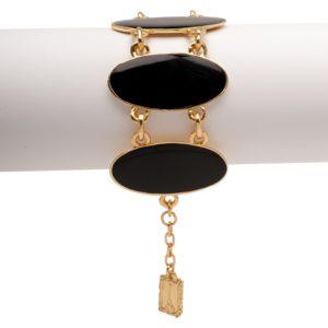 B56046.13 - Bracelet doré à l'or fin 24 carats avec de l'émail noir de forme ovales