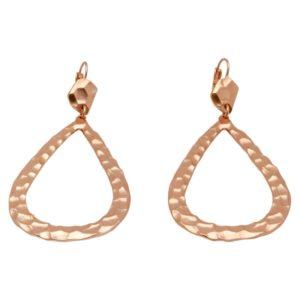 E50352.50 - Boucle d'oreille edorées à l'or rose 24 carats martelé