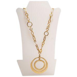 N59015.10 - Collier doré à l'or fin 24 carats à double pendentif
