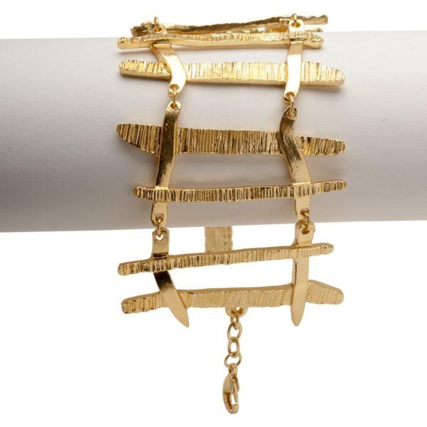 B50835.10 - Bracelet doré à l'or fin 24 carats avec un mélange de pointe brossé
