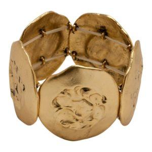 B50135.30 - Bracelet doré à l'or fin 24 carats avec des pièces et motif au centre