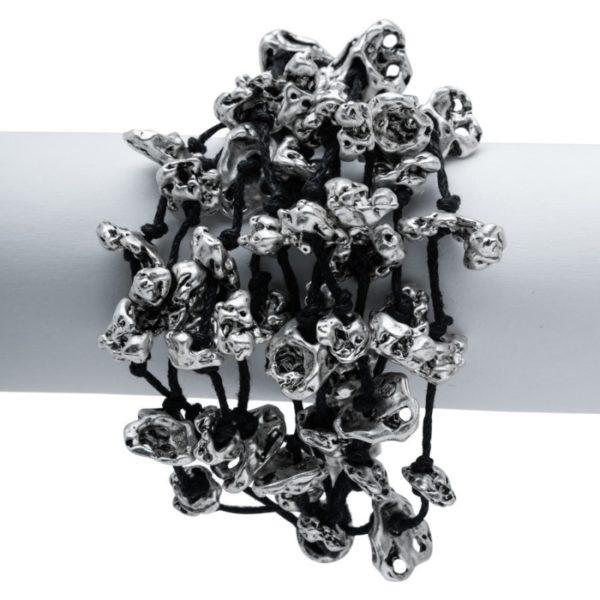 B50086.40 - Bracelet en étain argenté au 925 Sterling avec de nombreuses pépites