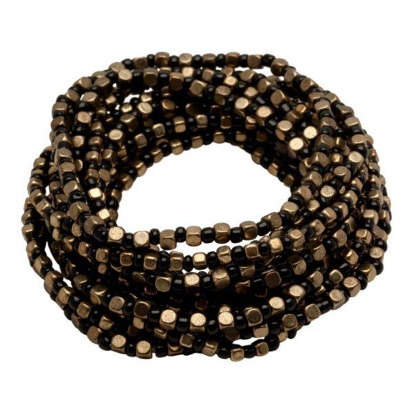 B50001.33 - Bracelet doré à l'or fin 24 carats avec une alternance de perles noires