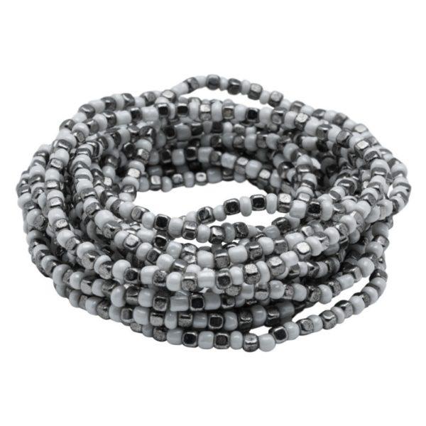 B50001.42 - Bracelet en étain argenté au 925 Sterling avec une alternance de perles blanches