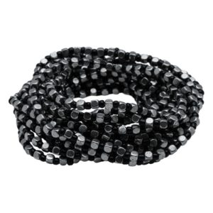 B50001.43 - Bracelet en étain argenté au 925 Sterling avec une alternance de perles noires