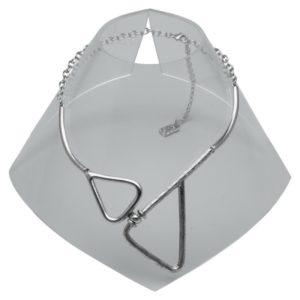 N59070.40 - Collier étain argenté au 925 sterling avec deux triangles