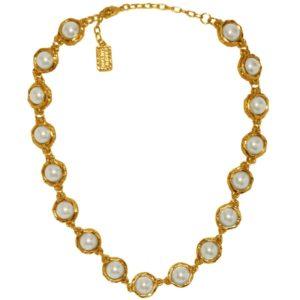 N50057.12 - Collier étain doré à l'or fin 24 carats avec des perles de verre blanche - Porté par Peggy Noonan